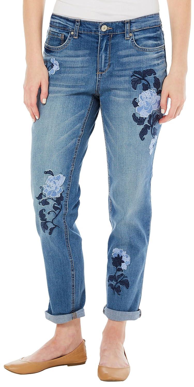 Tsala Sage   bluee Tonal Flowers Vintage America bluees Womens Gratia Bestie Boyfriend Jean Jeans