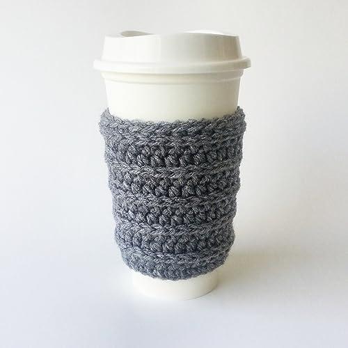 Amazoncom Crochet Coffee Cup Sleeve Ribbed Handmade