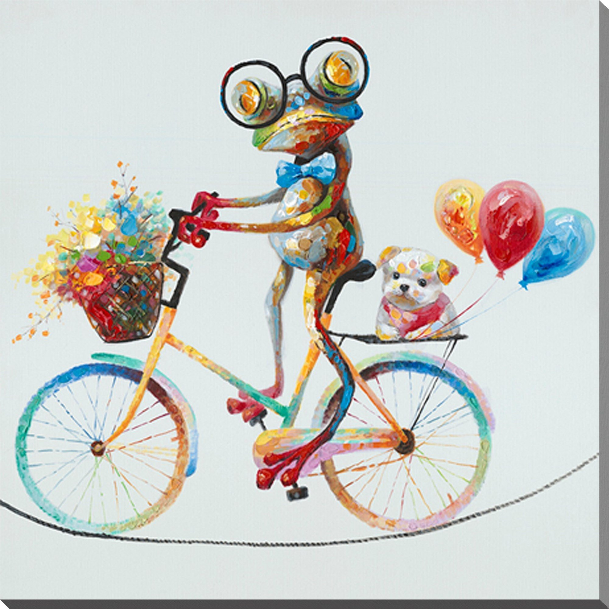 SEVEN WALL ARTS - 100% Hand Painted Oil Painting Cute Animal Colorful Travel the Frog Painting for Living Room Kids Room Decor 24 x 24 Inch