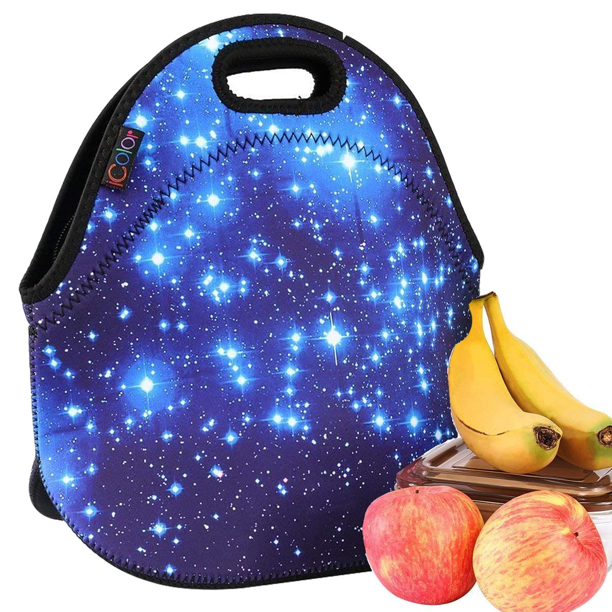 iColor Blue Shining Stars Boys Girls Kids Insulated School Travel Outdoor Thermal Waterproof Carrying Lunch Tote Bag Cooler Box Neoprene Lunchbox Container Case