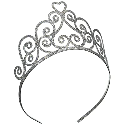 Glittered Tiara (silver) Party Accessory (1 count) (1/Pkg): Kitchen & Dining