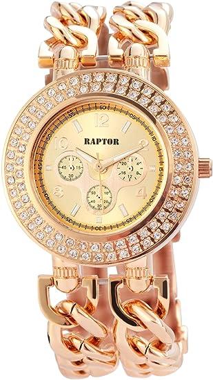 Raptor 197635500008 - Reloj para mujeres color oro rosa: Amazon.es: Relojes
