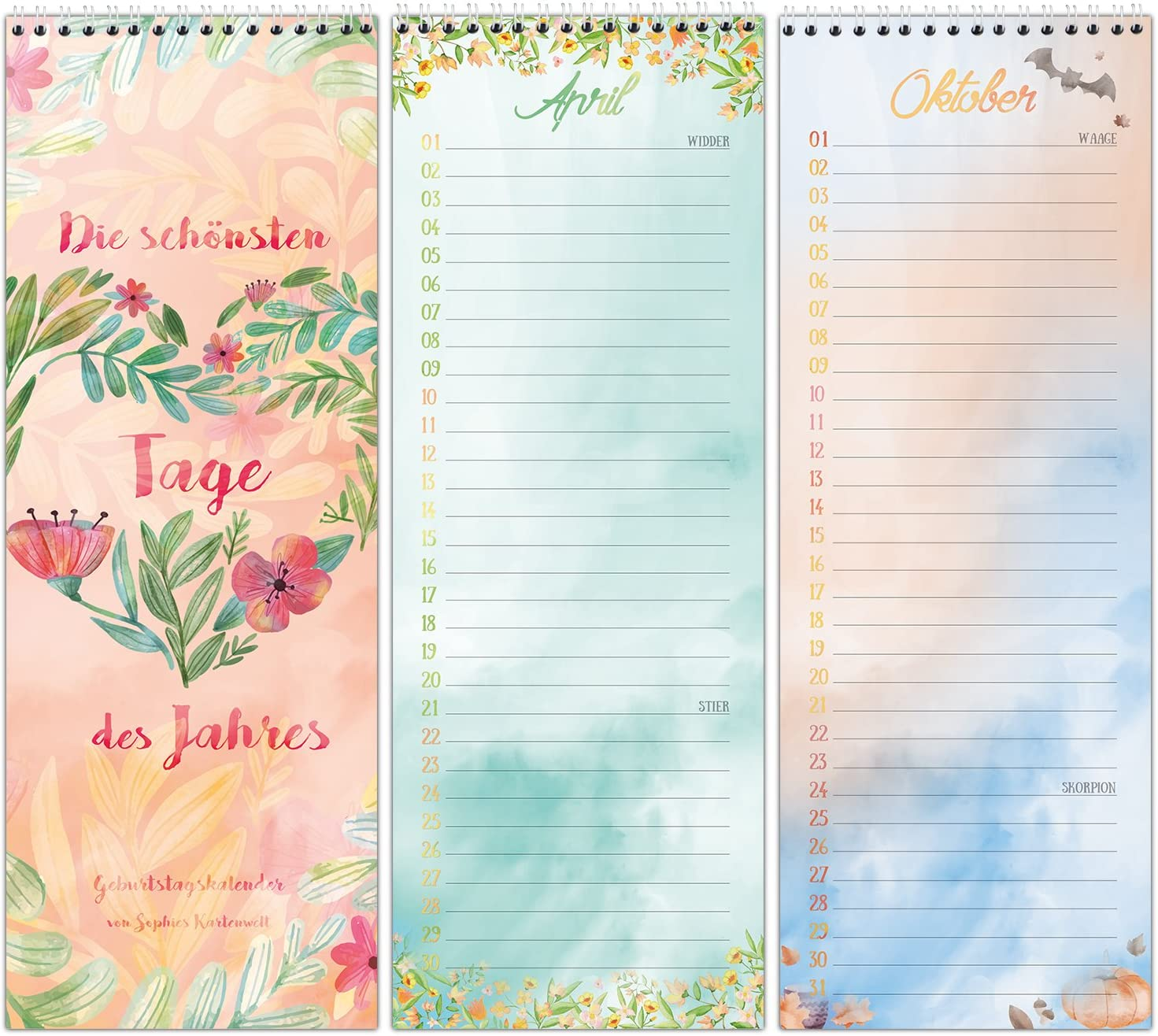 Permanent Wall Calendar Colourful Design for All Important Days in Life Birthday Calendar with Spiral Binding by Sophies Kartenwelt in Love