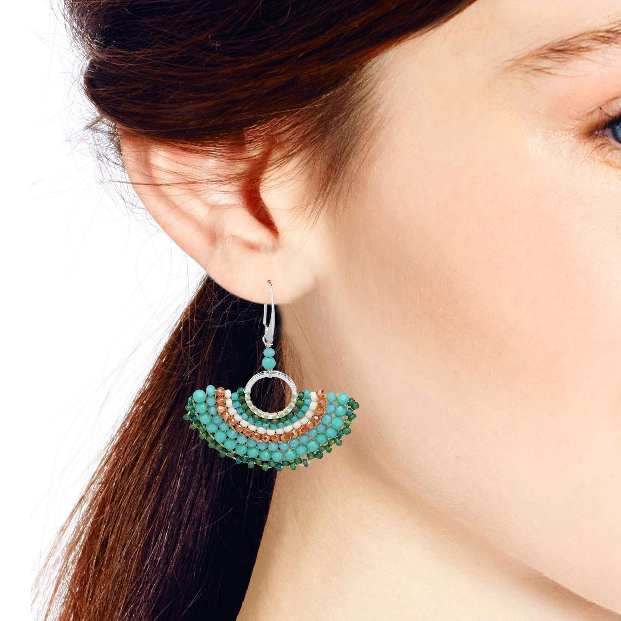 Chic Simulated Turquoise & Fashion Crystal & Fashion Bead Fan .925 Sterling Silver Dangle Earrings by AeraVida (Image #4)
