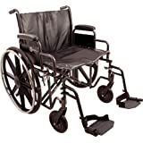 "ProBasics K7 Heavy-Duty Wheelchair with 24"" x 18"" Vinyl Upholstered Seat, Removable Desk-Length Arms, and Swing Away Footrests, supports patient weights up to 450 pounds"
