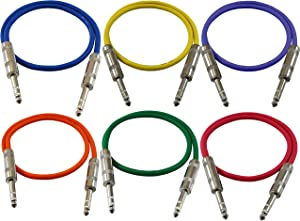 "GLS Audio 2ft Patch Cable Cords - 1/4"" TRS to 1/4"" TRS Color Cables - 2' Balanced Snake Cord - 6 Pack"