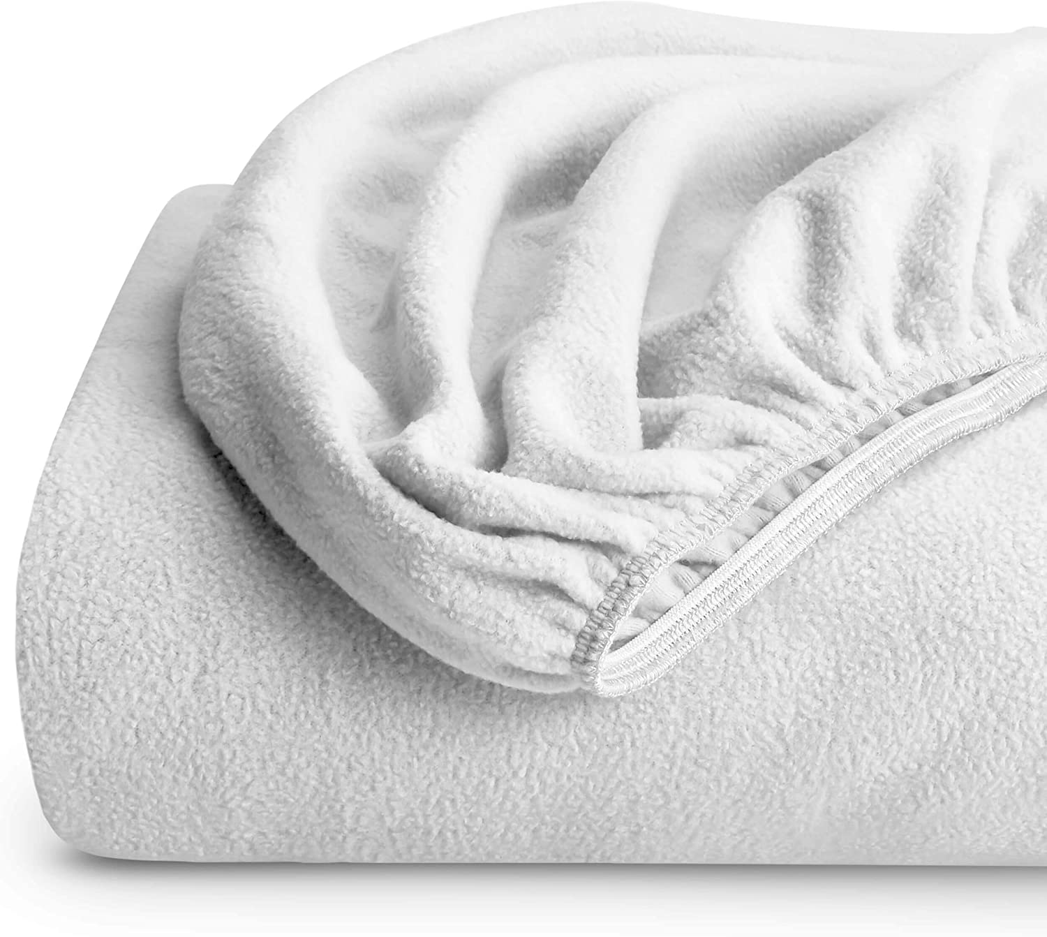 Bare Home Super Soft Fleece Fitted Sheet - Twin Extra Long Size - Extra Plush Polar Fleece, Pill Resistant - Deep Pocket - All Season Cozy Warmth, Breathable & Hypoallergenic (Twin XL, White)
