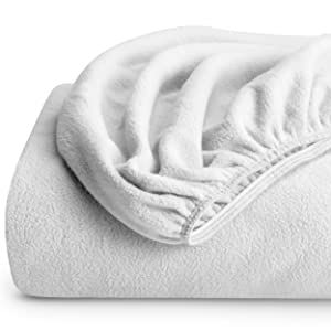 Bare Home Super Soft Fleece Fitted Sheet - King Size - Extra Plush Polar Fleece, Pill Resistant - Deep Pocket - All Season Cozy Warmth, Breathable & Hypoallergenic (King, White)