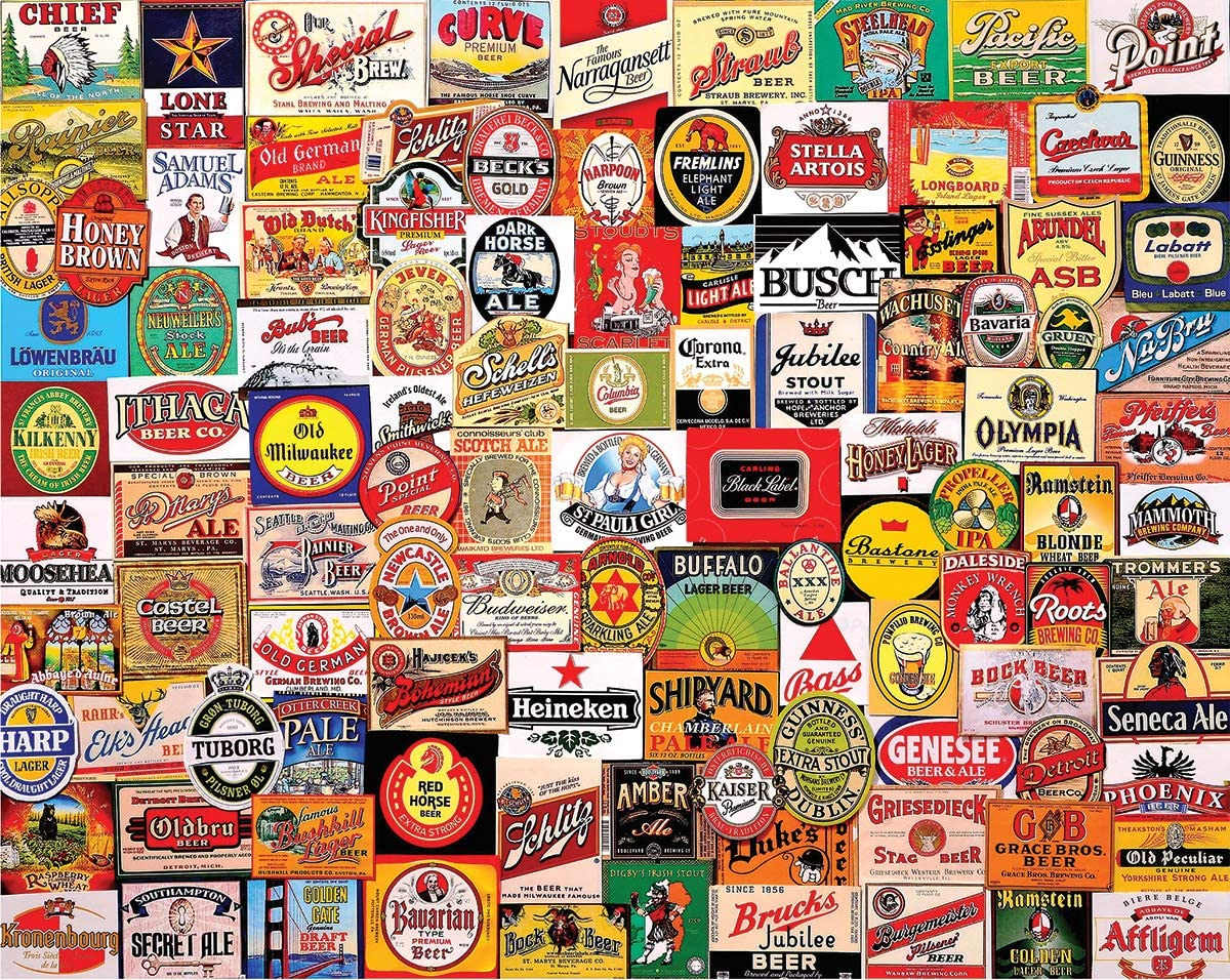 White Mountain Puzzles Beer Labels - 1000 Piece Jigsaw Puzzle