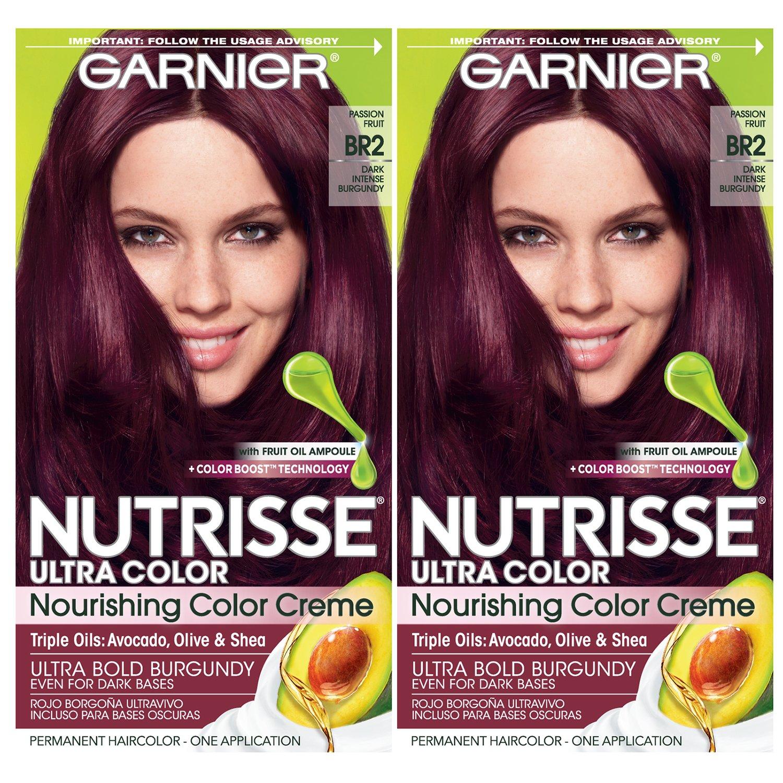 Garnier Hair Color Nutrisse Ultra Color Nourishing Creme, BR2 Dark Intense Burgundy, 2 Count