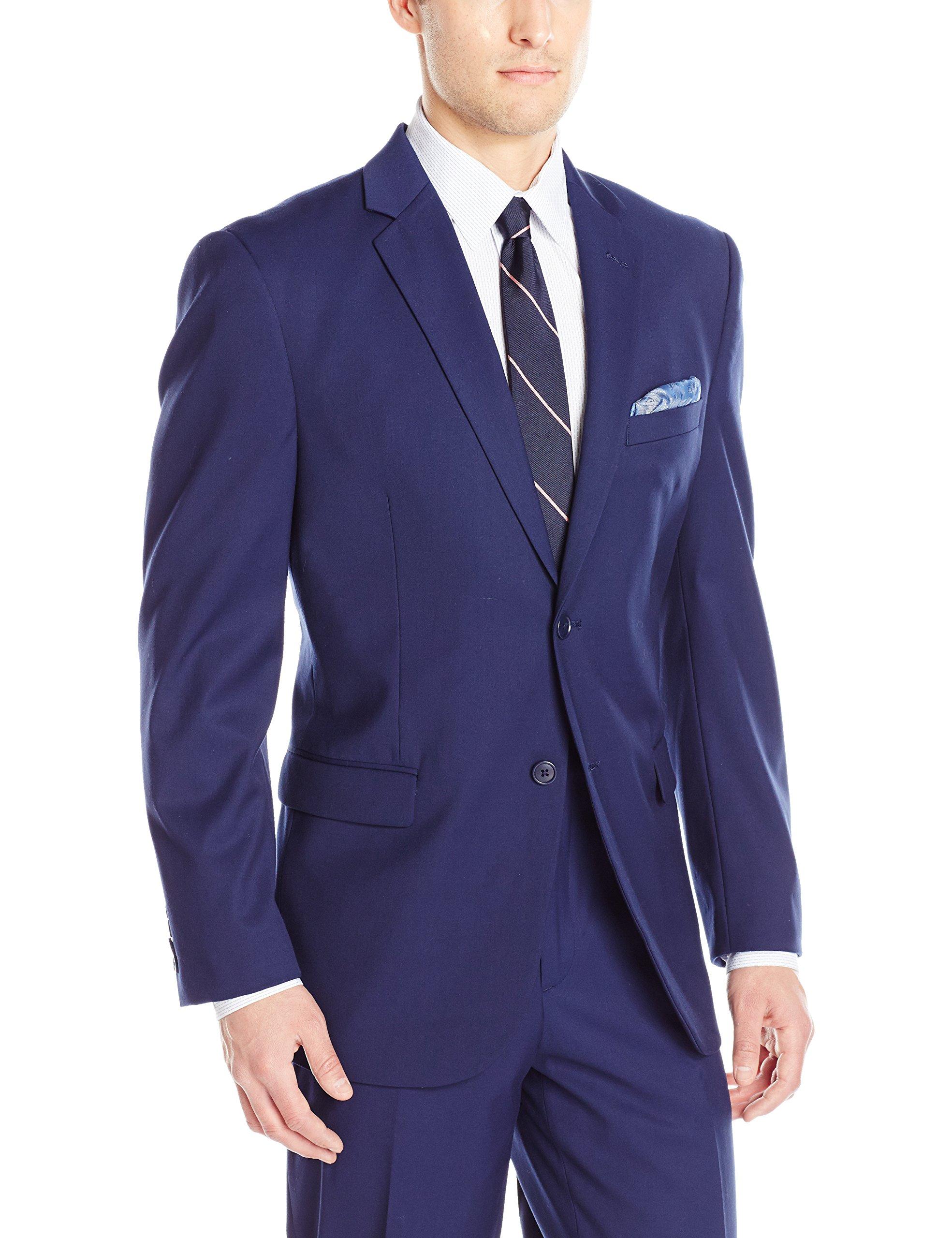 Adolfo Men's Modern Fit Micro Tech Suit Jacket, Blue with Lycra Stretch, 46 Regular