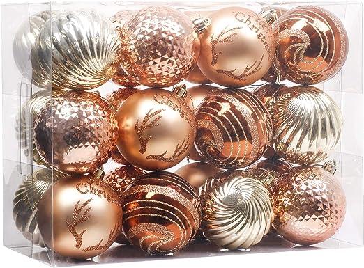 TM Gold Y56 12pcs Christmas Balls 3cm Xmas Tree Balls Bauble Door Wall Hanging Ornaments Decorations Tree Decorative Balls Holiday Wedding Party Supply Home Festival Decors