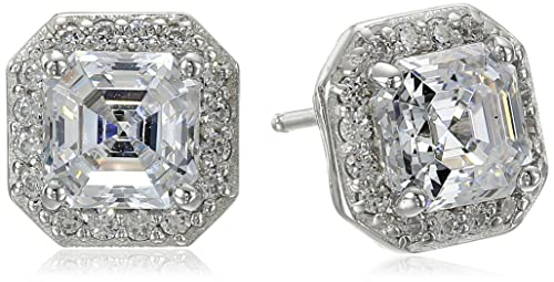 Platinum or Gold-Plated Sterling Silver Swarovski Zirconia Asscher-Cut Halo Earrings 1 cttw