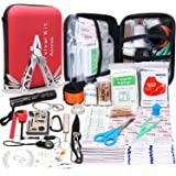 Aootek Upgraded 188 Pcs first aid kit survival Kit.Emergency Kit earthquake survival kit Trauma Bag for Car Home Work Office Boat Camping Hiking Travel or Adventures