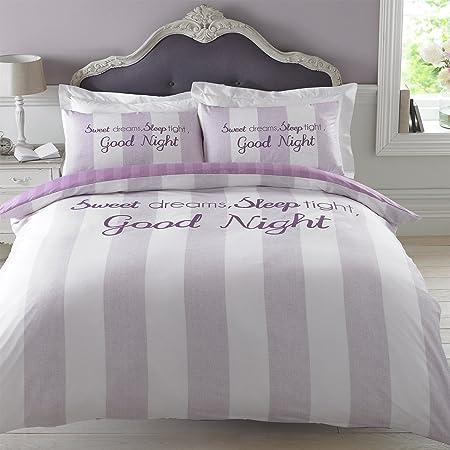 Dreamscene Sweet Dreams Duvet Cover With Pillowcase Bedding Set Pink