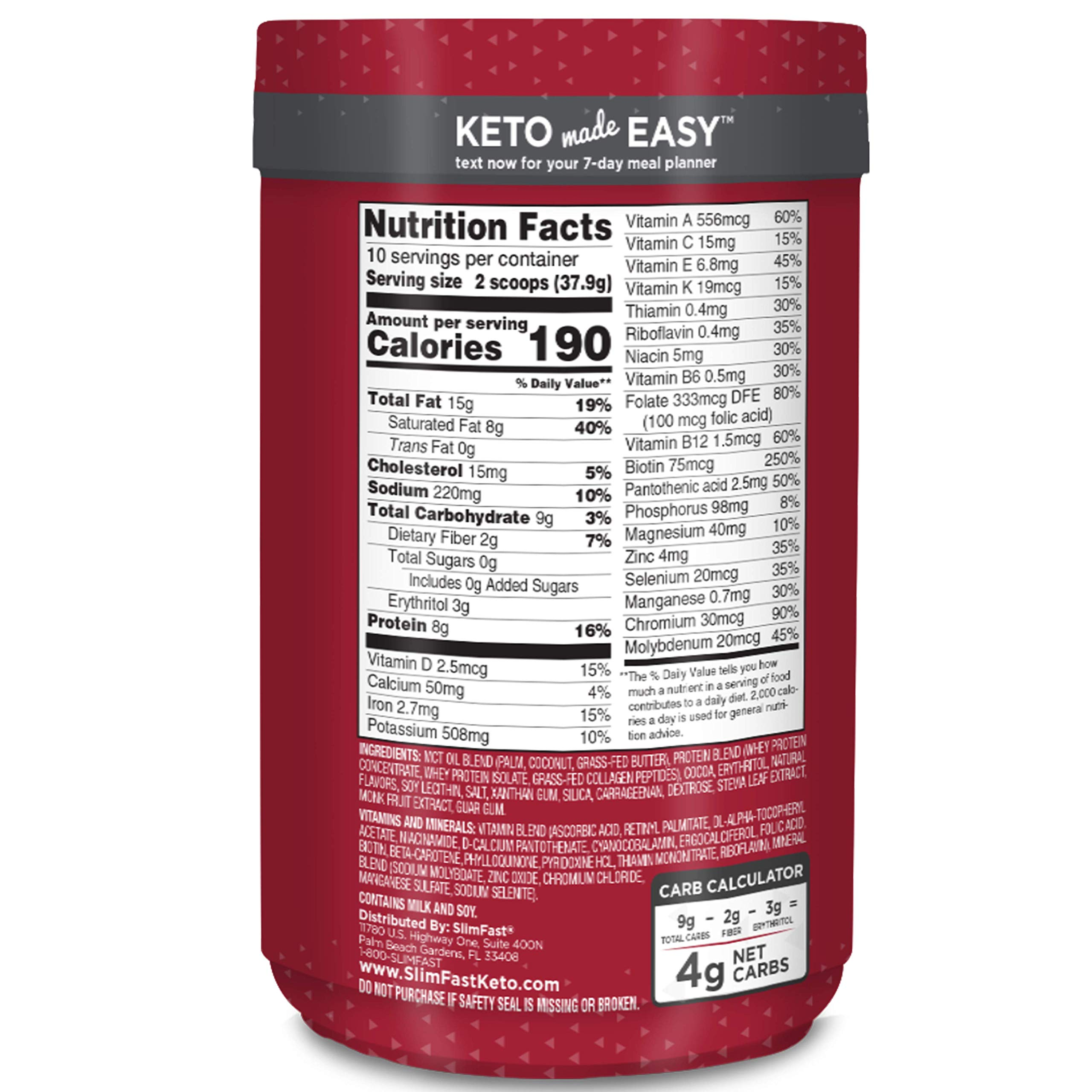 Slimfast Keto Meal Replacement Powder Fudge Brownie Batter Canister, 13.4 oz, Pack of 1 by SlimFast (Image #2)
