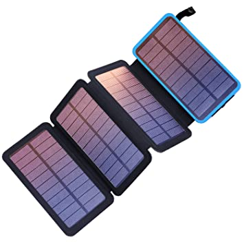PEALIKER - Cargador Solar portátil de 25000 mAh con 4 ...