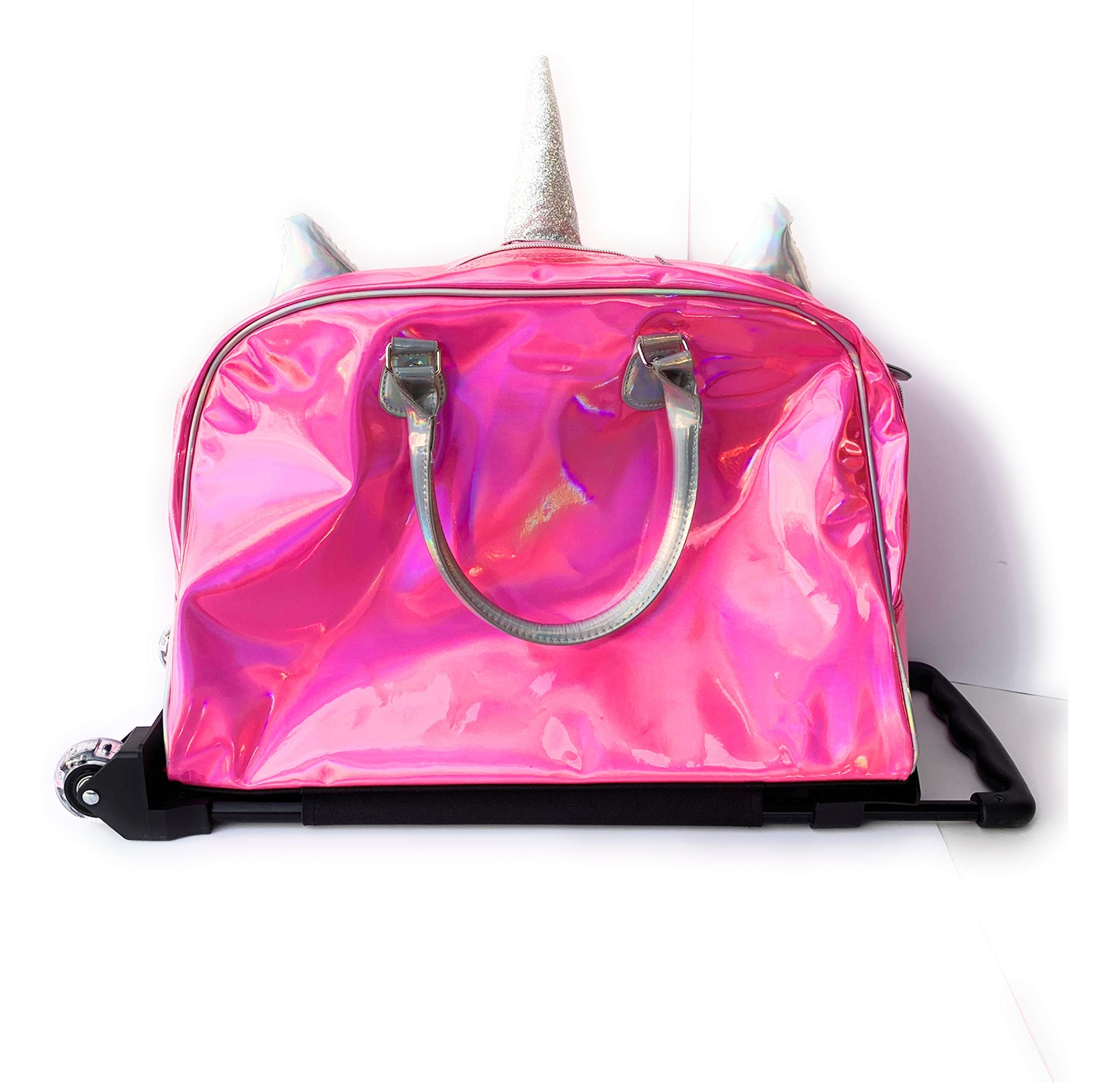 Justice Girls Exclusive Pink Reversible Seqiun Unicorn Carry On Luggage Suitcase Travel Bag by Justice (Image #4)
