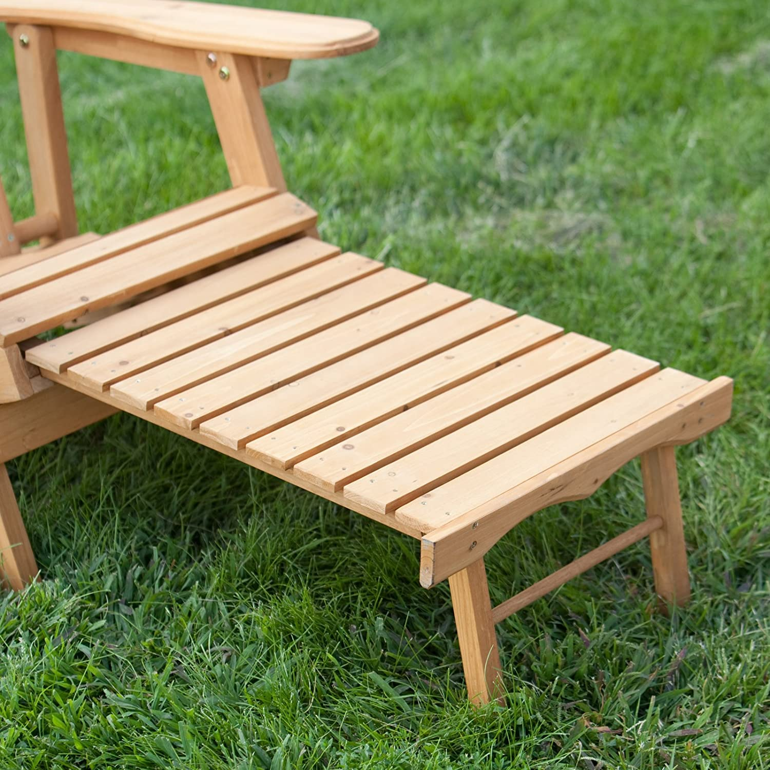 Amazon.com : Big Daddy Reclining Adirondack Chair With Pull Out Ottoman   Natural : Garden U0026 Outdoor