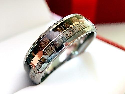8MM Titanium Mens Womens Rings Gold Tone Mariner Chain Inlayed Wedding Bands