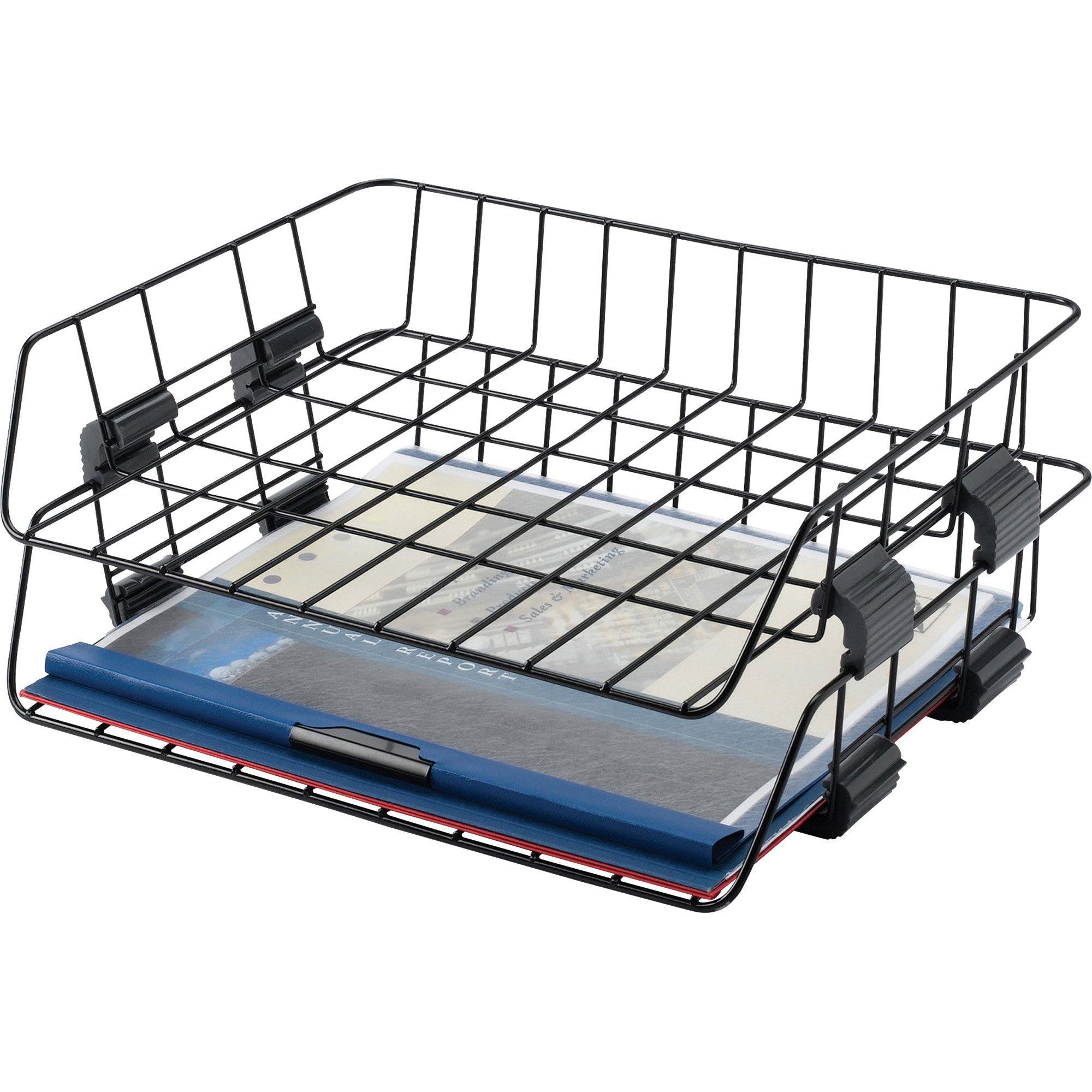 Sparco Wire Desk Tray, Letter, Side Load, 2 per Box, Black (SPR52772)