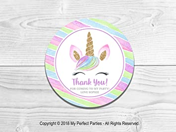 Suprisezakken/-tassen Huis Personalised Unicorn Birthday Party Thank You Stickers for Sweet Cone Loot Bags