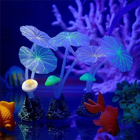 Aquarium Glow Plants Saim - Adorno de Acuario con Efecto Brillante, diseño de Seta y