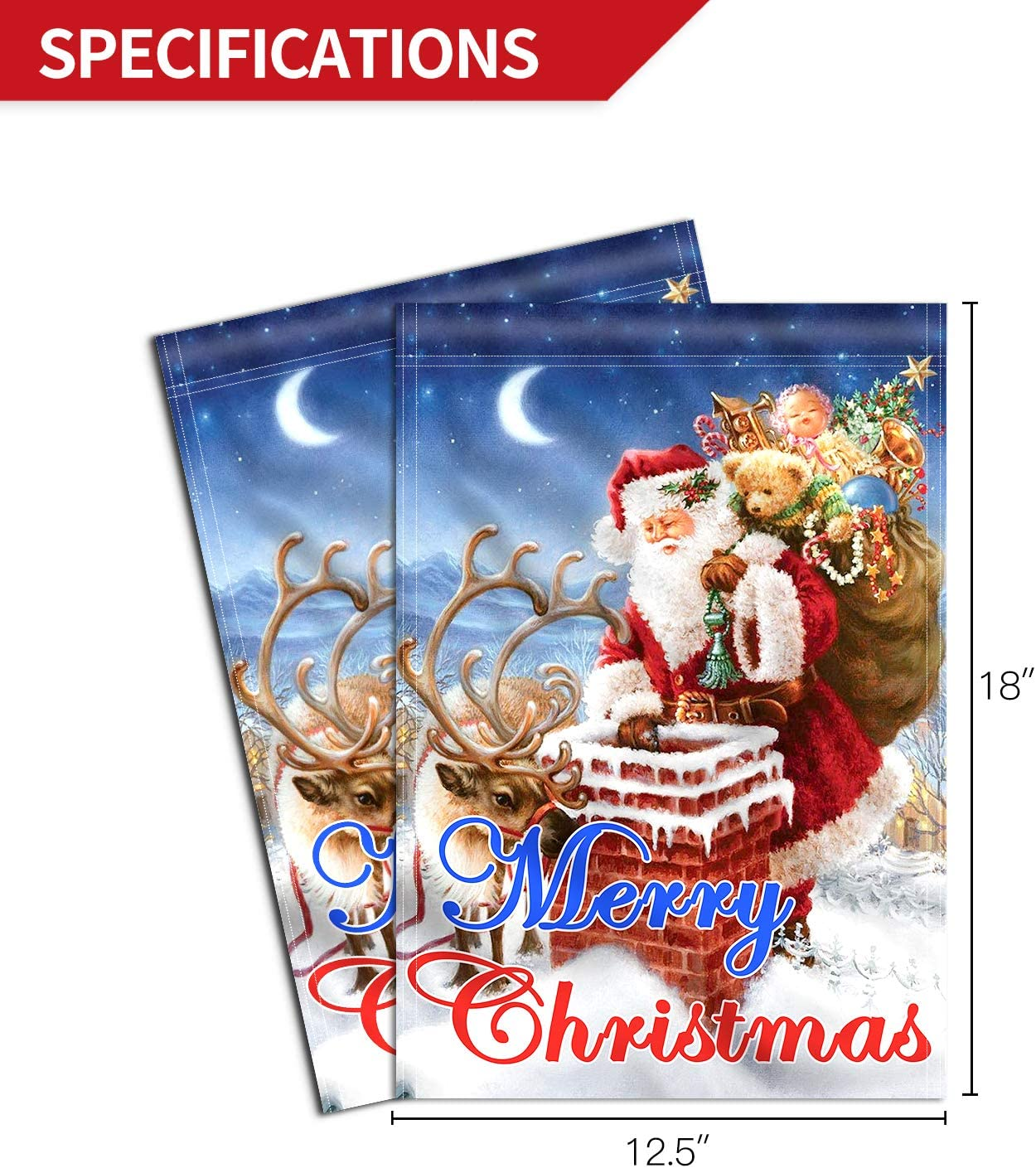 Amazon Com Anley Double Sided Premium Merry Christmas Garden Flag Santa Claus Winter Decorative Garden Flags Weather Resistant Double Stitched 18 X 12 5 Inch Garden Outdoor