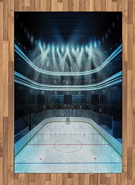 Ambesonne Hockey Area Rug Photo Of A Sports Arena Full People Fans Audience Tournament