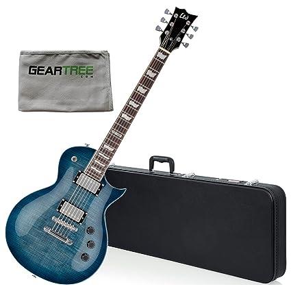 Esp Ltd ec256fmcb Eclipse azul cobalto guitarra eléctrica w/gamuza de geartree y duro caso