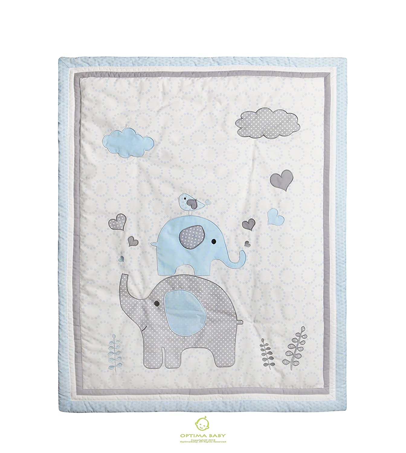 Crib Bedding Set Baby Boy Nursery Quilt Bumper Diaper Blue