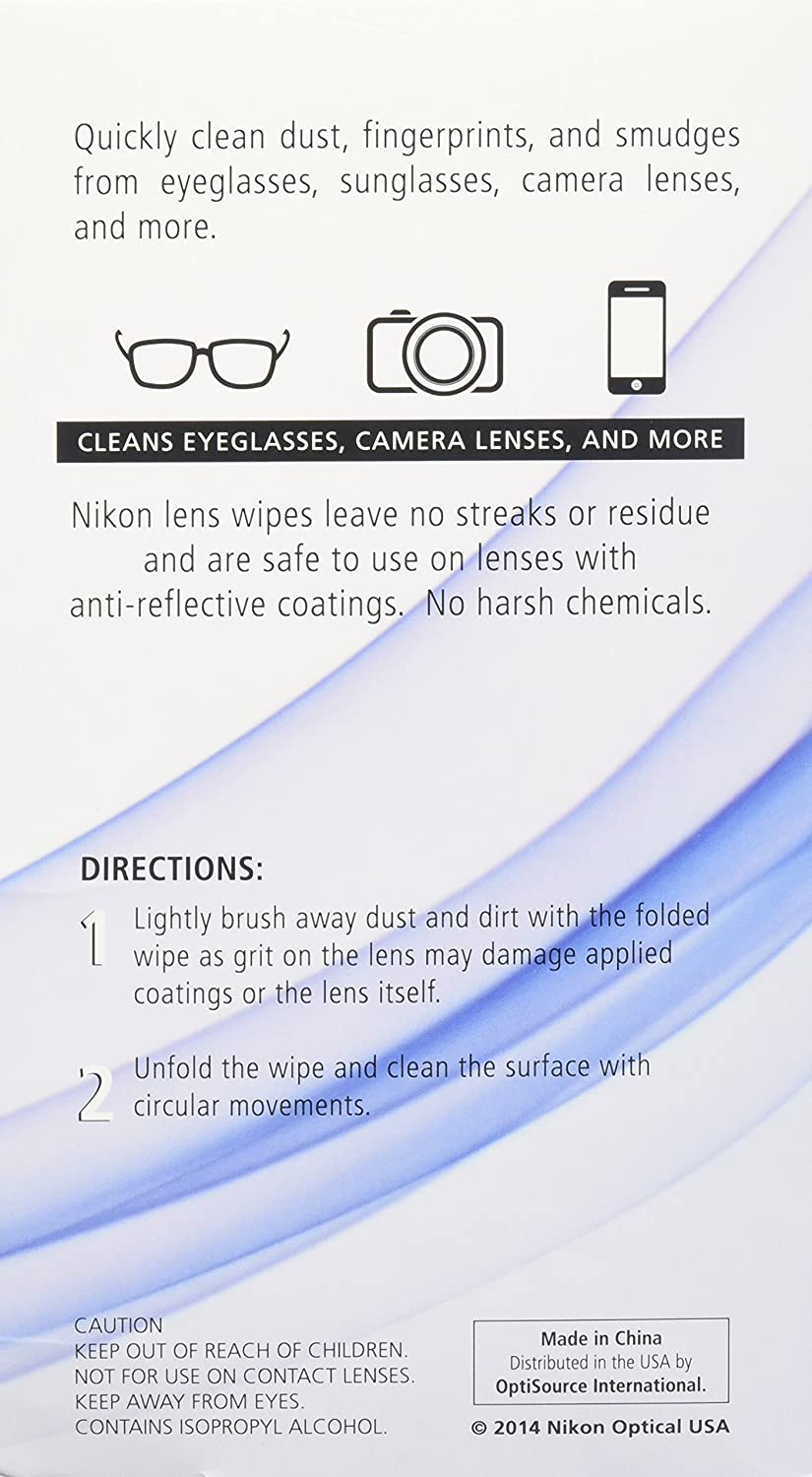 dcc69829b2b Amazon.com  Nikon Pre-Moistened Lens Cleaning Wipes - Cleans Without  Streaks for Eyeglasses and Sunglasses Wipes 200 Ct  Health   Personal Care