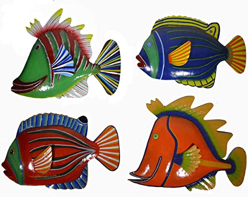 WorldBazzar Set 4 Large Beautiful Unique Fish Metal Hanging Wall Art