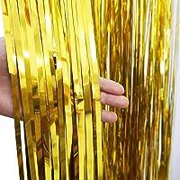 Cortinas de Oro, con Purpurina, de Flecos, 3 Unidades de 0,9 x 2,4 m