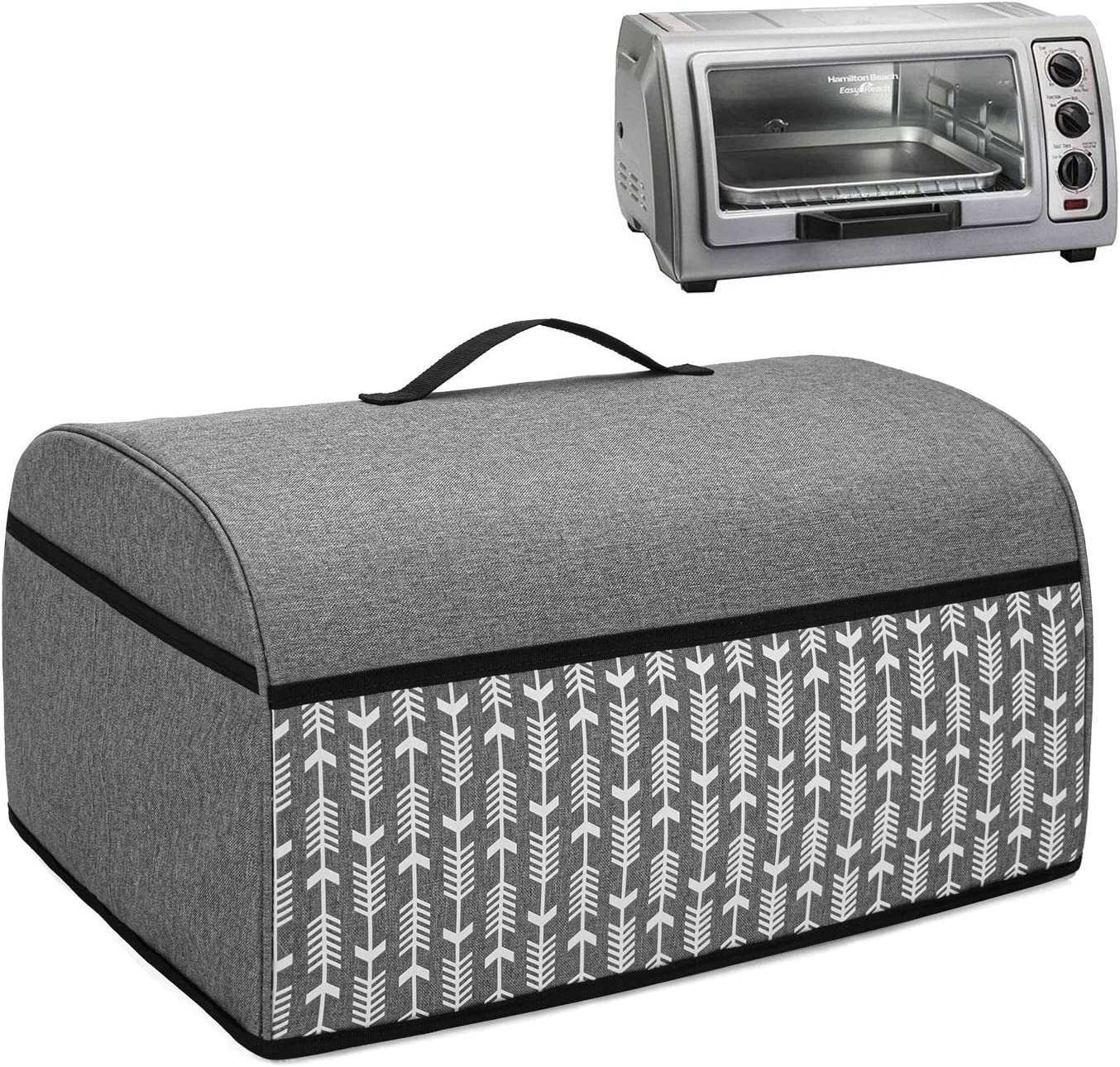 Yarwo Toaster Oven Cover Compatible with Hamilton Beach Countertop Toaster Oven 6 Slice, Heavy Duty Dust Cover with Pockets and Top Handle, Gray with Arrow (COVER ONLY)