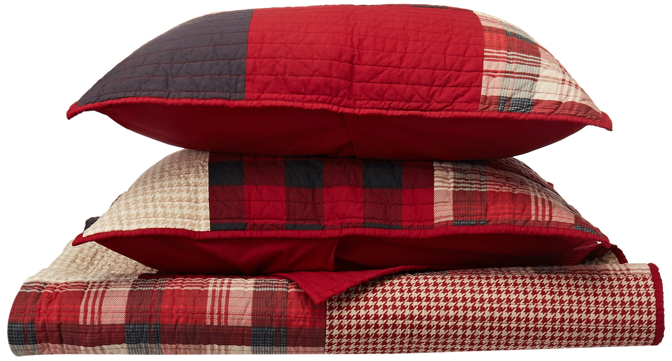 Woolrich Sunset Full/Queen Size Quilt Bedding Set - Red, Plaid – 3 Piece Bedding Quilt Coverlets – Cotton Bed Quilts Quilted Coverlet