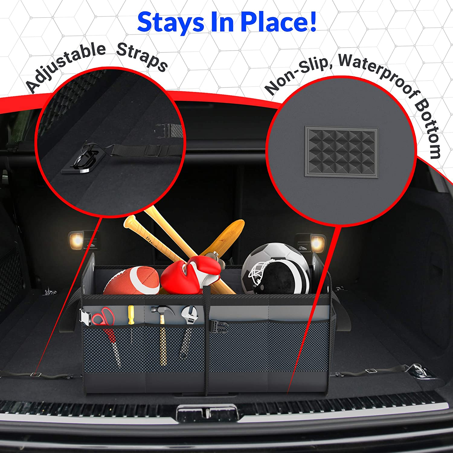 FORTEM Heavy Duty Auto Trunk Organizer For Car SUV Straps and Non Slip Bottom Strips to Prevent Sliding With Micro Fiber Towels Durable Collapsible Cargo Storage Truck