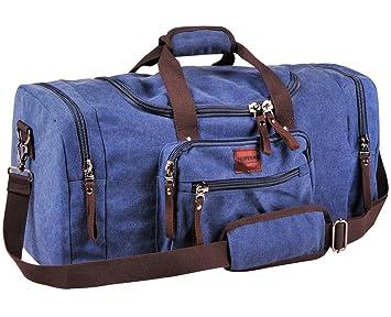 Amazon.com : Duffel Bag Blue Canvas bag Travel Bag Weekender Bags ...