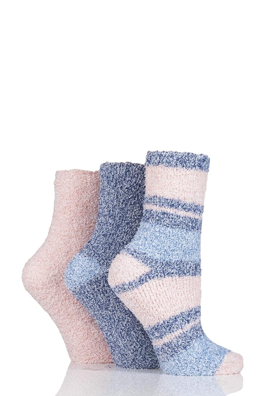 Ladies 3 Pair SockShop Plain and Striped Cosy Bed Socks Midnight/Quartz)