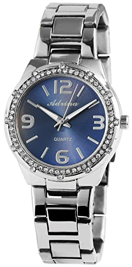 Reloj mujer azul plata números arábigos Analog brillantes metal Reloj de pulsera