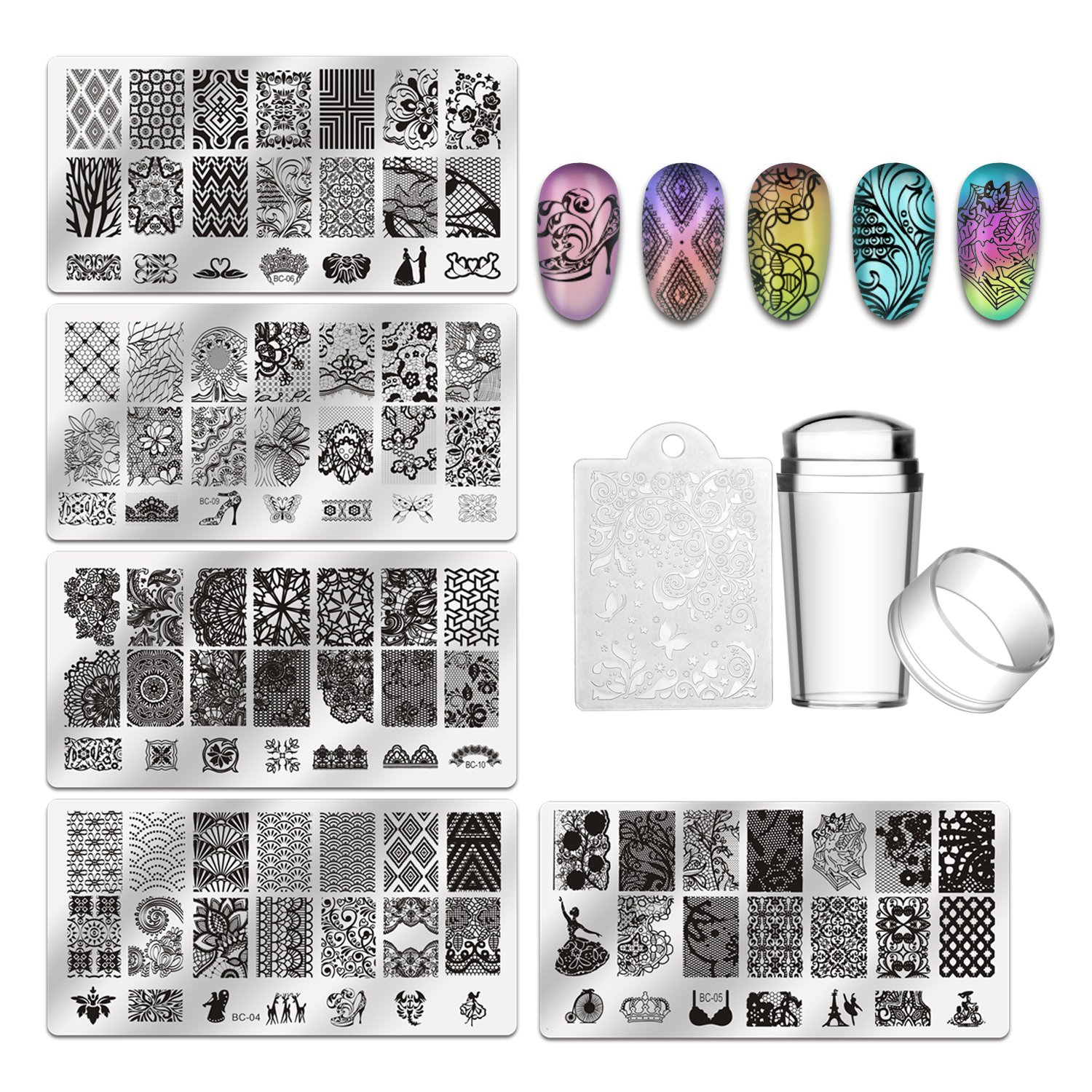 Biutee 19pcs Nail Stamp Plates set 15 plate 1 Dual-heads Stamper 2Scraper 1storage bag Nails Art Stamping Plate Scraper Stamper Set Leaves Flowers Animal Nail plate Template Image Plate TOOL-AT-777