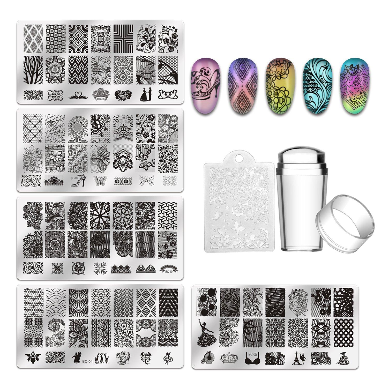 Amazon.com : Biutee 10 Nail Plates 1 Stamper 1 Scraper Nail Art ...