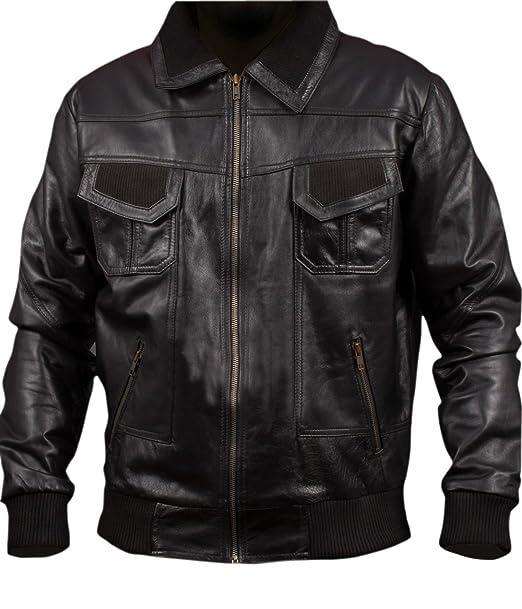 Leatherly Chaqueta de hombre American Bomber Chaqueta in Auténtico Cuero- XXL