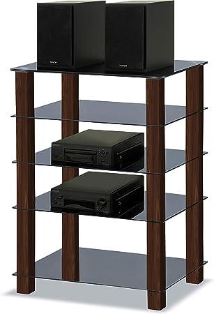 MDA Designs Trinity - Soporte de Cristal para televisor (5 estantes, Patas de Nogal, Color Negro Brillante: Amazon.es: Electrónica