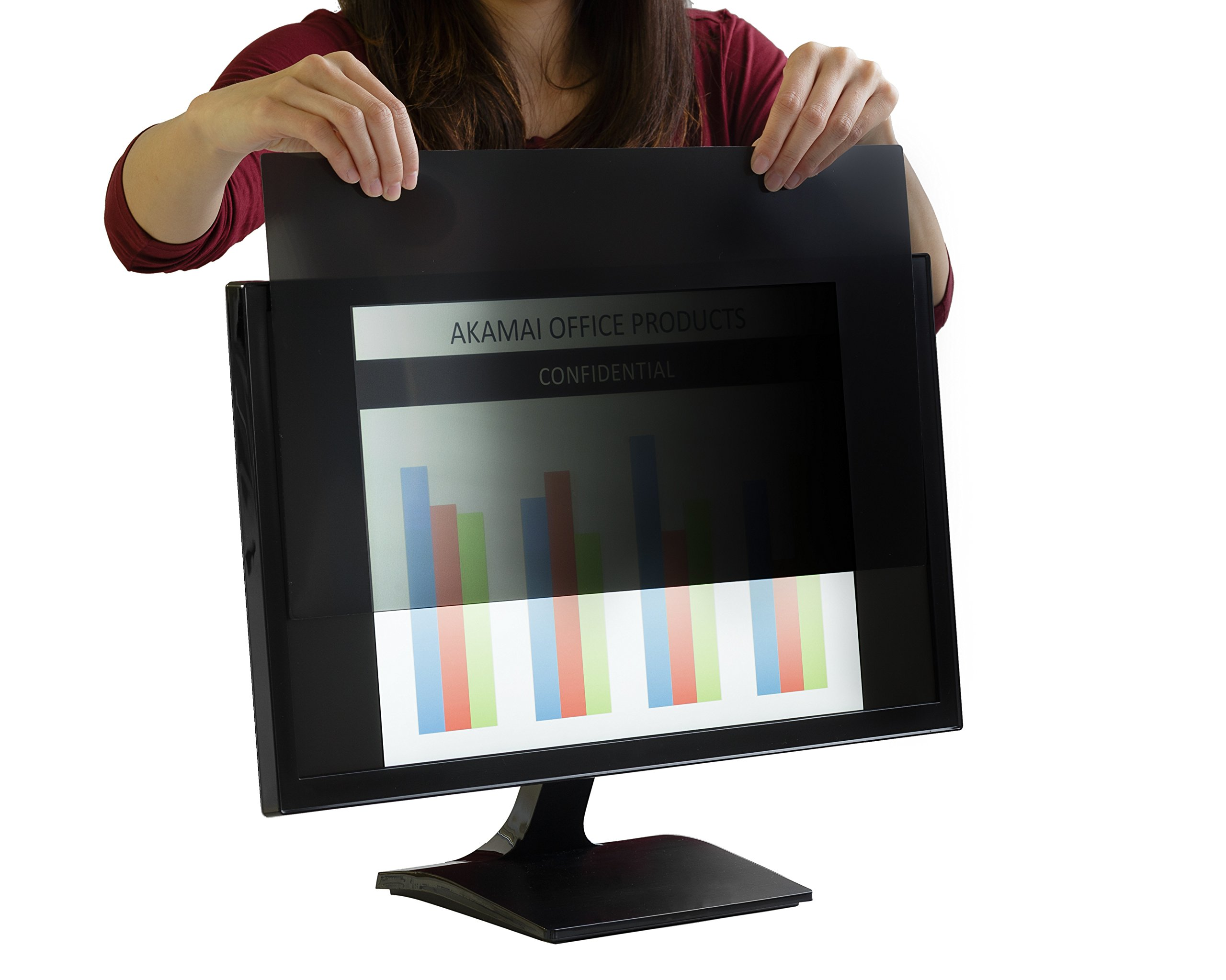 Akamai Office Products 24 Inch (Diagonally Measured) Privacy Screen Filter 16:9 Aspect Ratio for Widescreen Computer Monitors-Anti Glare- PLEASE MEASURE CAREFULLY