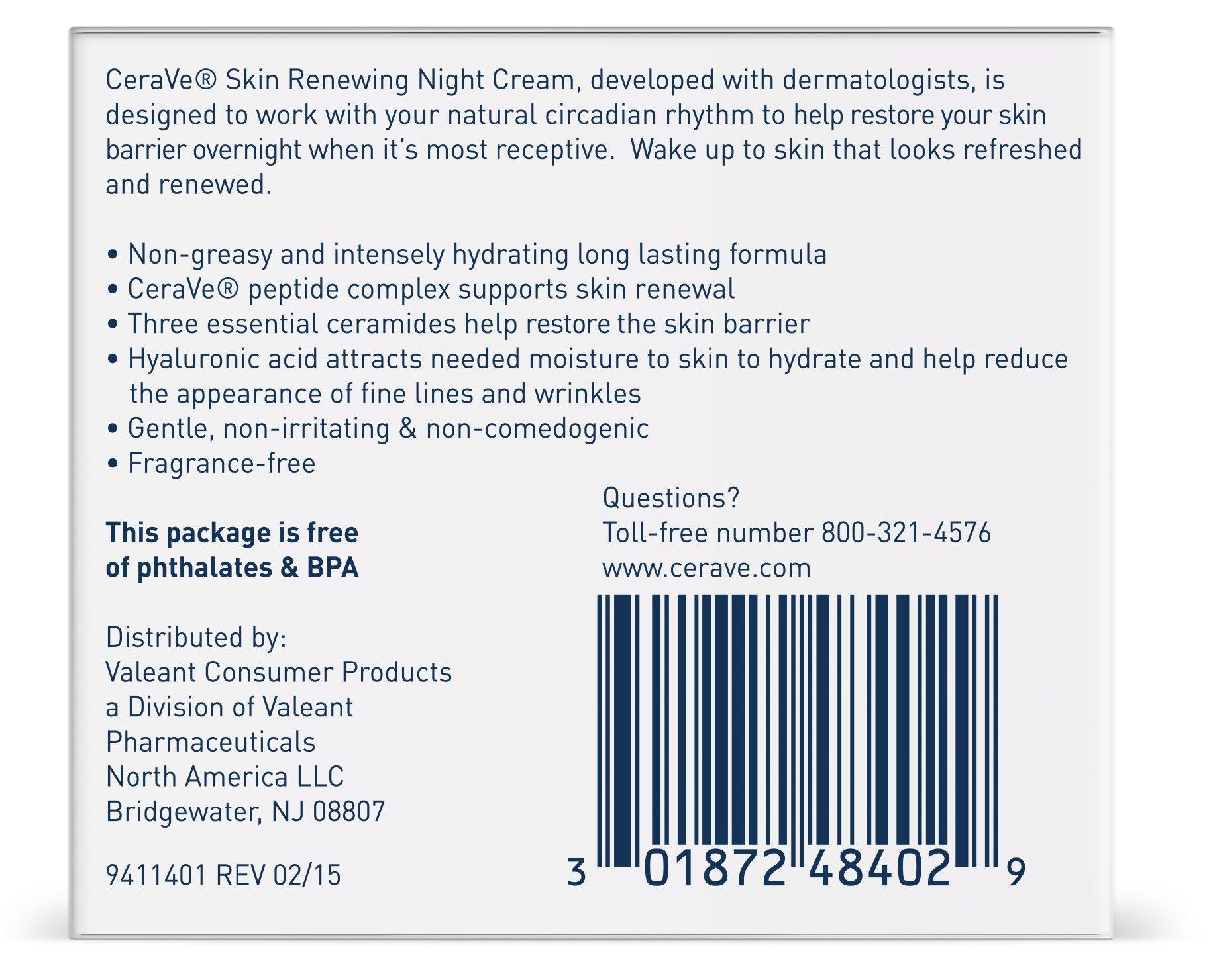 CeraVe Skin Renewing Night Cream - Multipurpose Night Cream, Face Moisturizer, Anti Aging Face Cream & Wrinkle Cream – Moisturizer for Face w Hyaluronic Acid & Niacinamide, 1.7 oz by CeraVe (Image #2)