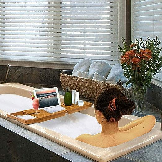 Smartweb Bambus Badewannenablage 50-85x18cm Badewannenbr/ücke Badewannenaufsatz Wannenablage ausziehbar Badewannen Ablage
