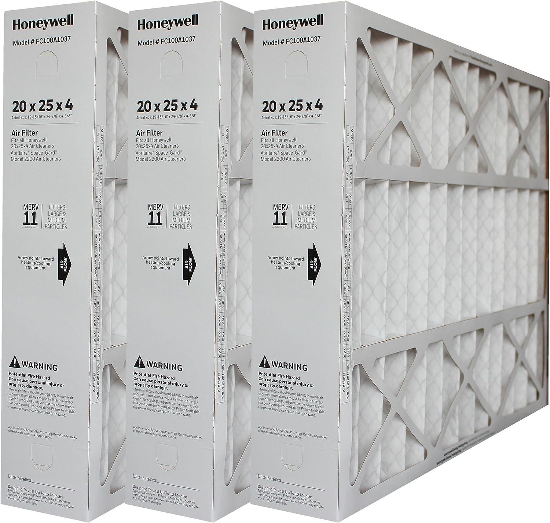 "Genuine Honeywell 20 x 25 Part # FC100A1037 MERV 11 Size 19 7/8"" x 24 3/4"" x 4 3/8"" Case of 3"