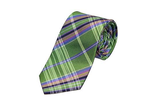 Slim necktie - Green, blue, black, orange & purple Madras plaid Notch