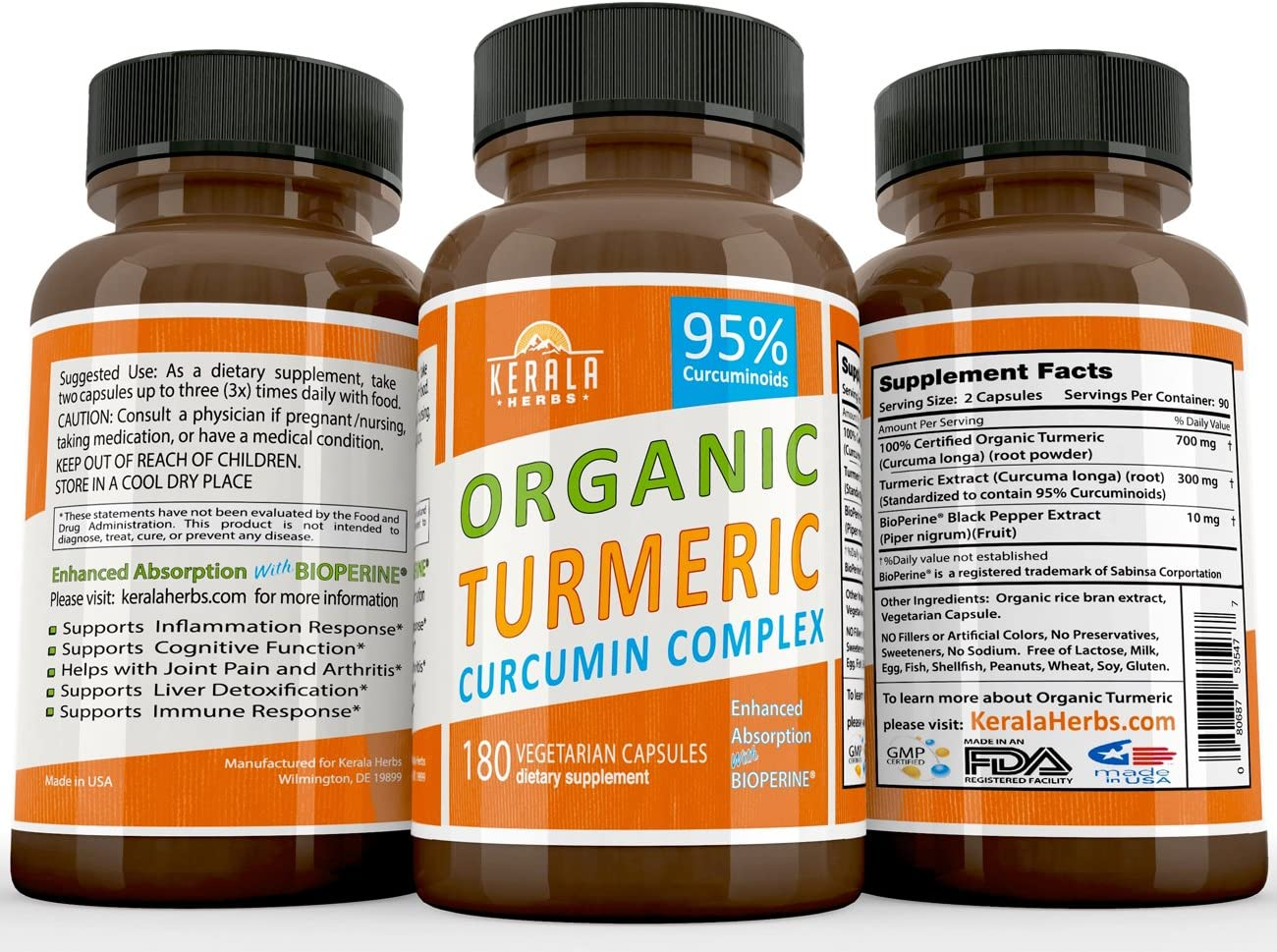 Tumeric Curcumin 95 Percent Curcuminoids Best Turmeric Anti Inflammatory Joint Pain Relief Max Immune System Booster Liver Detox BioPerine Black Pepper Extract Capsule Boost Immunity Supplement 180